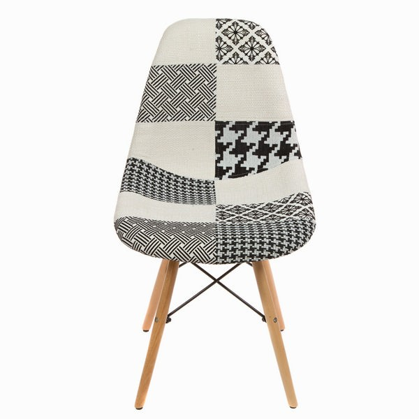 Silla patchwork blanca y negra by craftenwood a un precio for Sillas blancas y negras