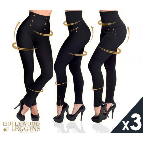 HOLLYWOOD PANTS - PACK 3 LEGGINGS MOLDEADORES